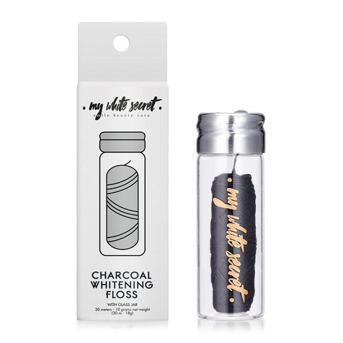 Charcoal plastic free dental floss in glass jar - MWS80007