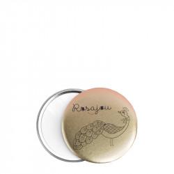 Miroir de Poche Doré Paon - ROS94004