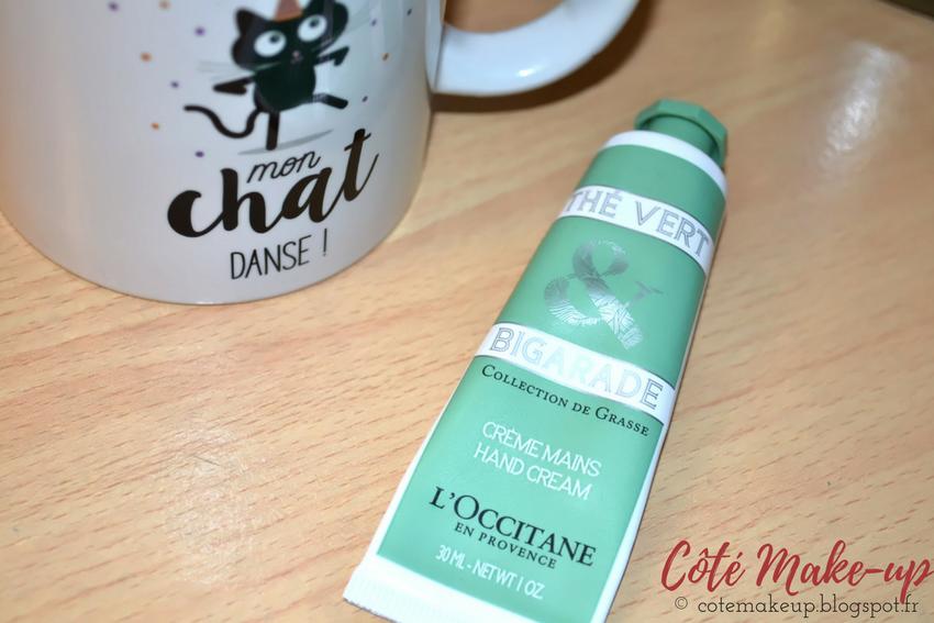Avis Crème mains thé vert & bigarade l'occitane cotemakeup.blogspot.fr